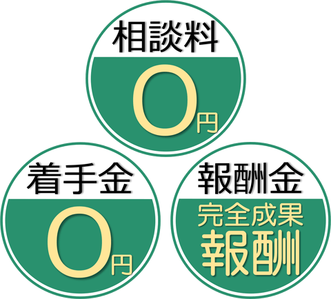 相談料:0円/着手金:0円/報酬金:完全成果報酬